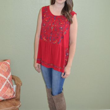 More Variety Embroidered Print Top: Red