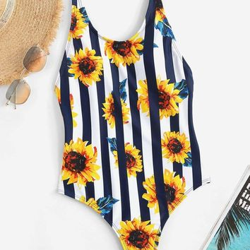 Random Low Back Striped and Floral One Piece Swimsuit