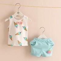Wholesale 2016 Summer Leisure Sleeveless Ice Cream Children 2PC Clothing Set Kids Vest + Shorts Casual Girl Outfit Blue Pink-in Clothing Sets from Mother & Kids on Aliexpress.com | Alibaba Group