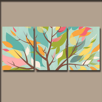 Wall Art Canvas Watercolor Pottery Artwork Season Tree Colorful Floral Leaves Pink Green Aqua Nursery Set of 3 Prints Bedroom Bathroom Three