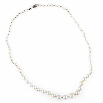 Vintage Necklace Genuine 3-5mm  Pearls W 10K Clasp