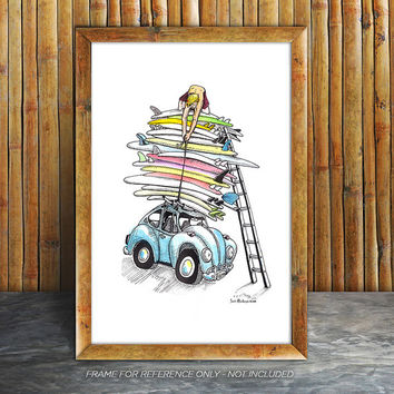 VW Bug with Surfboards, Hand Tinted, VW Beetle, Quiver, Pen & Ink Print with Custom Watercolor
