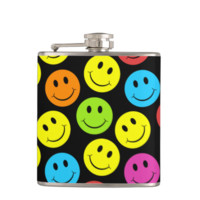 Happy Colorful Smiley Faces Pattern Hip Flask