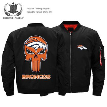 Drop Shipping USA Size Punisher BRONCOS Thick Bomber Jacket Men's Streetwear Flight MA-1 Jacket Customized Logo Designs