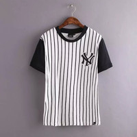 Black And White Stripe Embroidered Baseball Shirt
