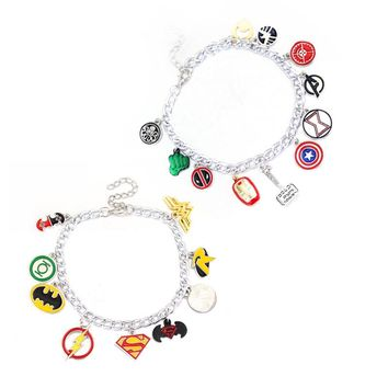 Hot The Avengers Infinity War Superhero American Captain Iron Man Spiderman Thor's Hammer star chain Bracelets Best friend gift
