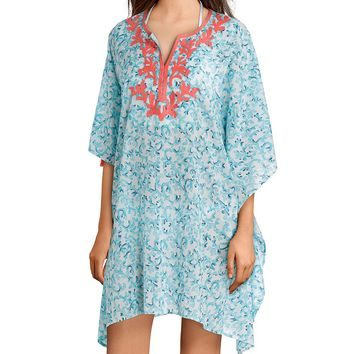 Tommy Bahama Coral Print Cabana Embroidered Tunic Cover Up | Dillard's