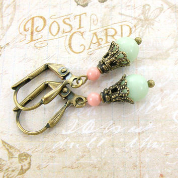 Peach and Mint Earrings - Vintage Style Brass Jewelry - Mint and Coral Earrings - Dainty Brass Earrings with Filigree Bead Caps