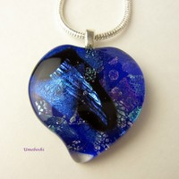 Love is Blue Handmade Dichroic Fused Glass Heart Pendant - OOAK