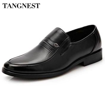 Tangnest Brand Men's Business Shoes 2018 New Penny Loafers For Men Solid Slip-on Platform Flats Pu Leather Dress Shoes XMP734