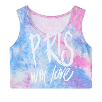 Women Vest hipster Summer style T shirt fashion brand harajuku tie dye top bustier camisole camisetas blusas femininas