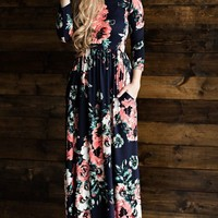 A| Chicloth Round Neck Long Sleeve Floral Super Long Maxi Dress