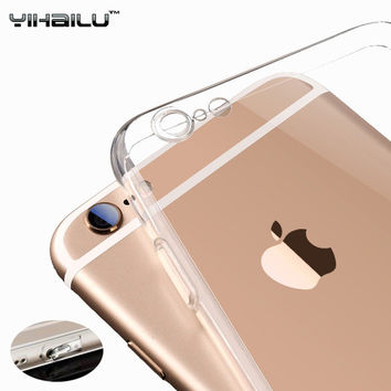 For iPhone 6s TPU Soft Case Protect Camera Cover Dust Plug Crystal Transparent Silicon Ultra Thin Slim Shell for iPhone 6 Plus