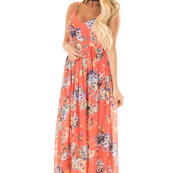 Coral Floral Print Open Back Maxi Dress