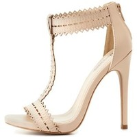 Nude Laser-Cut T-Strap Heels by Charlotte Russe