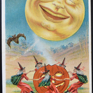 Halloween Postcard, Witches Dancing Moon, Halloween Card, Halloween Ephemera, Antique Postcard