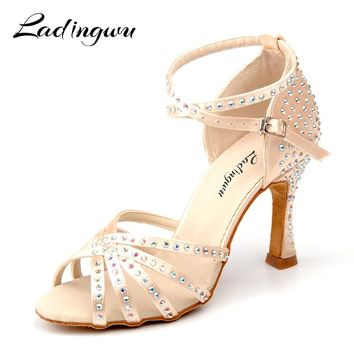 Ladingwu New Satin Latin Dance Shoes Women Salsa Rhinestone Shoes Dance For Woman Ballroom Dancing Shoes Beige Apricot Brown