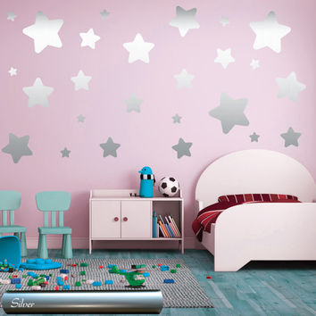 Wall decals STARS - Gold Silver Copper Stars decals - Set of 60 Various Sized stars - Nursery Stars Pattern, Bedroom Nursery Playroom decor