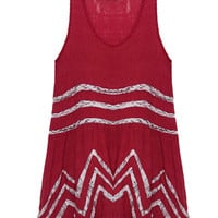 Red Sleeveless Cotton Tunic Dress with Lace