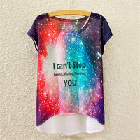 Alisister Beauty Women T Shirts 3d Print Space Galaxy T-shirt Letters Print Loving Missing Needing You Tees Tops Cuasal Clothing