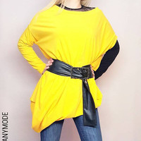 Yellow Asymmetrical Tunic / Loose Extravagant Tunic Dress / Oversized Maternity Clothing / Off the Shoulder Asymmetric Dress / Plus Sizes