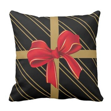 Christmas Pillow, modern gift wrap w/ bow Throw Pillow