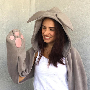 Bunny Hooded Scarf, Animal Hooded Scarf, Bunny Ears, Party Costume, Rabbit Hood Scarf, Bunny Hood Cowl, Girls Hoodie Scarf, Scoodie  Scarf