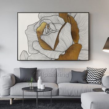 Original modern Abstract Acrylic Painting on canvas Extra Large white and Gold Rose painting wall Picture home decor cuadros abstractos