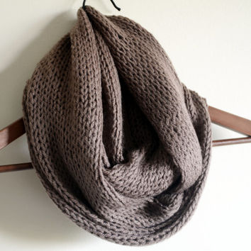 brown chunky infinity scarf wool scarf loop circle scarf gift ideas woman scarves birthday gifts