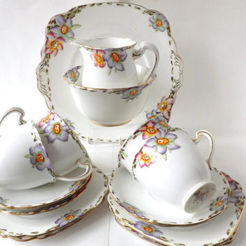 1930s English Bone China Tea Set / Floral Porcelain Tea Service / Deco Floral China Tea Set / Cottage Decor / Vintage Afternoon Tea Party