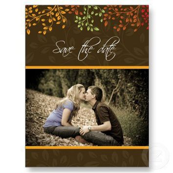 Customizable Fall Save the Date Wedding Invitation Post Card from Zazzle.com