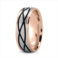 Wedding Band - Celtic Mens Ring with Black Rhodium in Two Tone Rose Gold