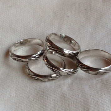 Wave Pattern Sterling Silver Thumb Ring. Eco Friendly. Ring Band.  Classic. FREE Shipping