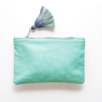OVERSEAS/ Natural leather & Dyed linen two color side pouch - Ready to Ship