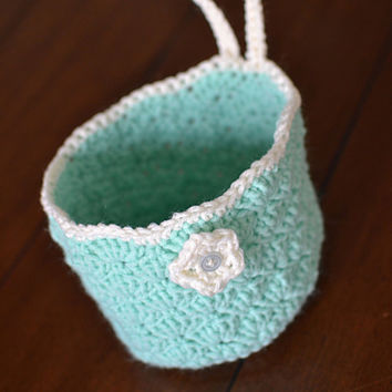 Mint Green Hanging Storage Basket w/ flower-Crocheted Basket-Storage Basket-Hanging Basket.