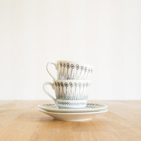 Mid Century Retro Set of 2 Espresso Cup and Saucer