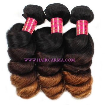 Ombre Loose Wave Human Hair Extension 3Bundles Unprocessed Remy Hair