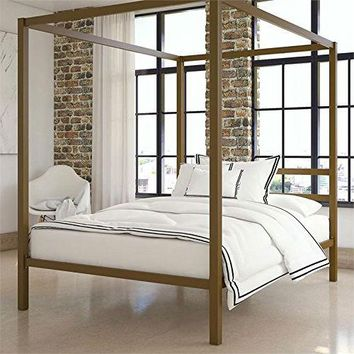 Bed Canopy Full Size Gold Bed Frame Bedroom Furniture Adult Children Home