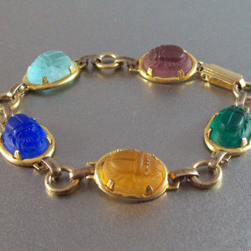 Vintage 12K Gold Filled Carved Scarab Bracelet, High Relief Domed Jade Amethyst Citrine Gemstones