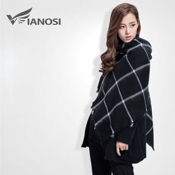 [VIANOSI] High Quality Black Cape Classic Scarf Knitted Plaid Foulard Famous Brand Shawl Fashion Cashmere Scarves VS058
