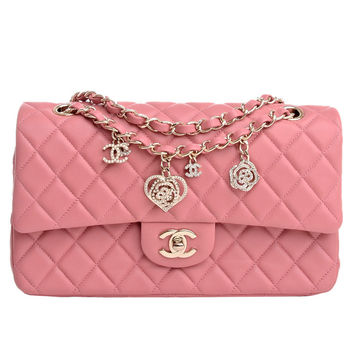 Chanel Limited Edition Pink Quilted Valentine Charm Flap Bag
