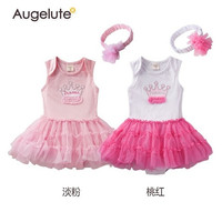2015 Summer Baby Girls Romper %100 Pure Cotton Crown One Piece Tutu Dress Jumpsuits headband 2 Set Toddler Rompers Clothes Infant Bodysuits AB39 = 1958513924
