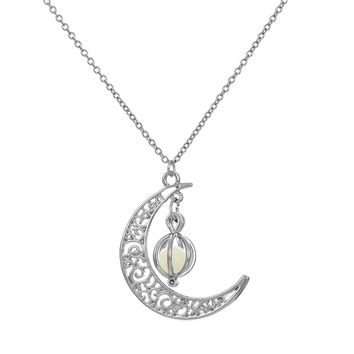 OTOKY 2018 Hot Sale 1pc Glow In The Dark Luminous Necklace Moon&Pumpkin Pendant Silver Plated For Gift Dropshipping Apr12