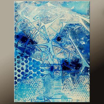 Blue Abstract Canvas Art Contemporary Painting by Destiny Womack - dWo -  All The Broken Pieces