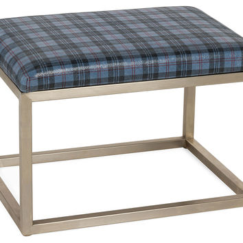 "Chris 24"" Leather Bench, Blue Plaid, Entryway Bench"