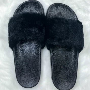Royals Black Fuzzy Slippers