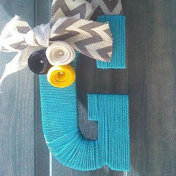 Winter Wreath Coral Blue Valentine's Day Custom Twine with Flowers and Hanging Ribbon Customizable