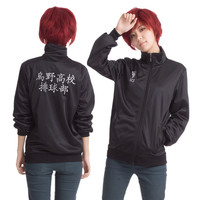 Japan Anime Haikyuu Cosplay Costume Karasuno High School Volleyball Club Jacket men women Unisex Perucas Black Sportswear S-2XL
