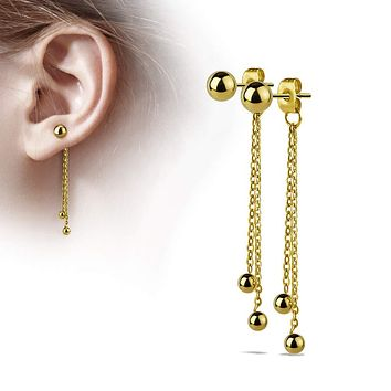 WildKlass Pair of Two Chained Free Falling Steel Balls Attached to Butterfly Clutch of a Stainless Steel Ball Earring Stud