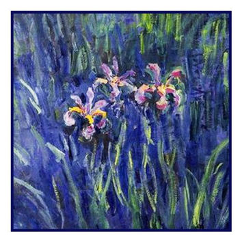 Irises Detail inspired by Claude Monet's impressionist painting Counted Cross Stitch or Counted Needlepoint Pattern